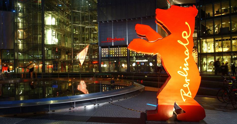 image of berlinale bear lit up in Berlin city center