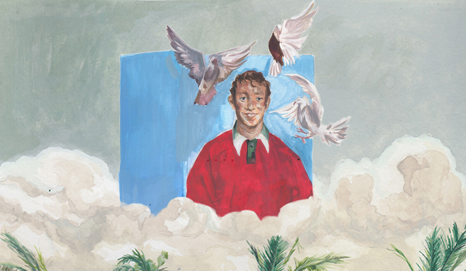 a man with birds flying around his head