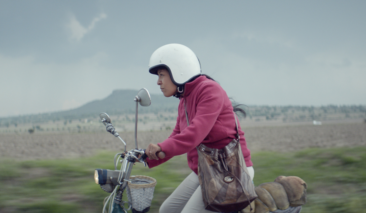 a woman on a motorbike driving down a scenic road