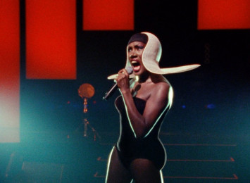 Grace Jones on stage performing