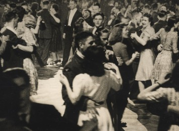 people dancing in an old black and white photo