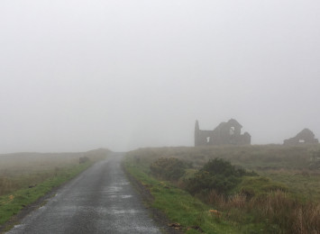 a misty field with a small winding road and derelict