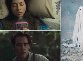 three images in one, a man with a sheet over him like a ghost, a man in a forest and a women lying in bed looking at her phone