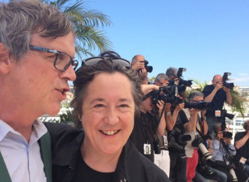Ted Hope and Christine Vachon at a Cannes press event