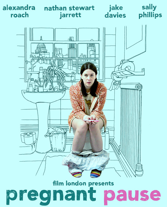 film poster with a girl sitting on the toilet